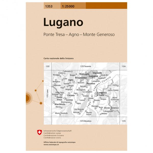 Swisstopo - 1353 Lugano - Mapa de senderos