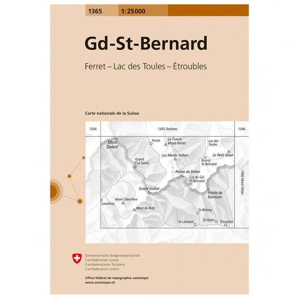 Swisstopo - 1365 Gd-St-Bernard - Hiking map