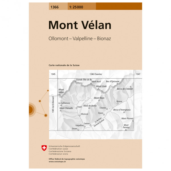 Swisstopo -  1366 Mont Vélan - Mapa de senderos