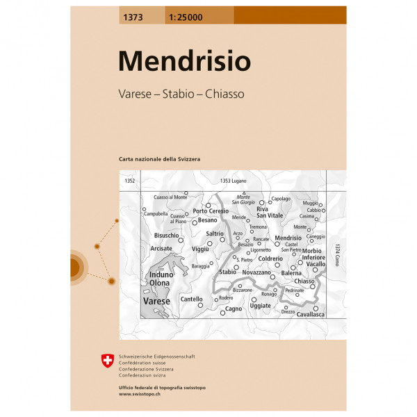 Swisstopo - 1373 Mendrisio - Hiking map