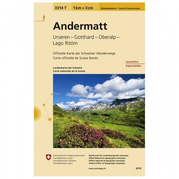 Swisstopo -  3314 T Andermatt - Mapa de senderos