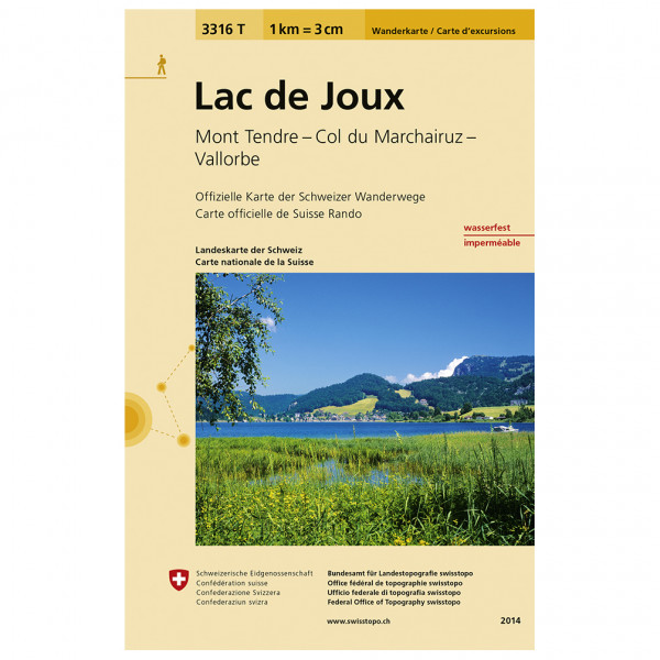 Swisstopo -  3316 T Lac de Joux - Mapa de senderos