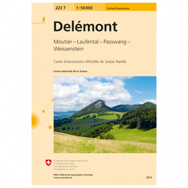 Swisstopo -  223 T Delémont - Hiking map