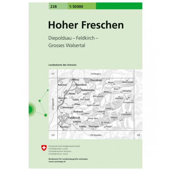 Swisstopo - 228 Hoher Freschen - Vandrekort