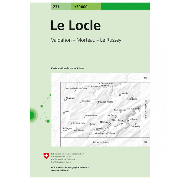 Swisstopo -  231 Le Locle - Vaelluskartat