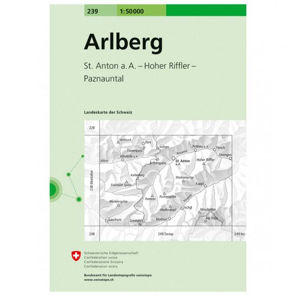 Swisstopo -  239  Arlberg - Vaelluskartat