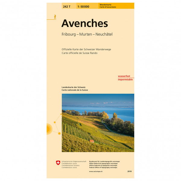 Swisstopo -  242 T Avenches - Hiking map