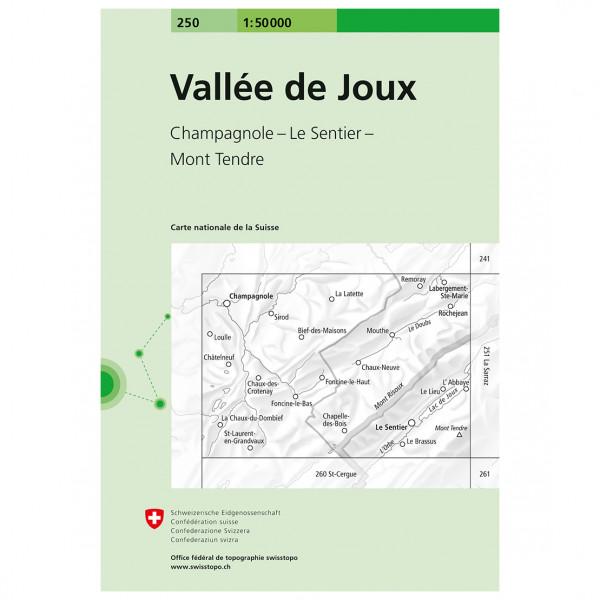 Swisstopo - 250 Vallée de Joux - Vandrekort