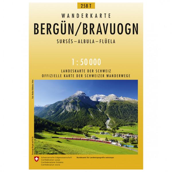 Swisstopo - 258 T Bergün/Bravuogn - Vandrekort
