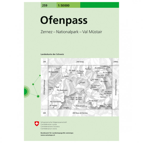 Swisstopo -  259 Ofenpass - Hiking map
