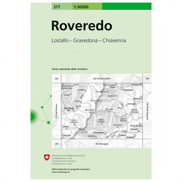 Swisstopo - 277 Roveredo - Mapa de senderos