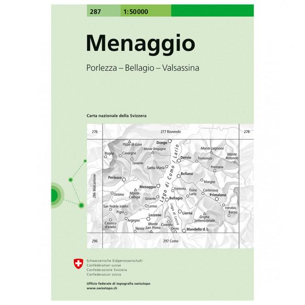 Swisstopo - 287 Menaggio - Mapa de senderos