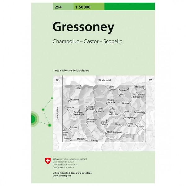Swisstopo - 294 Gressoney - Vandringskartor
