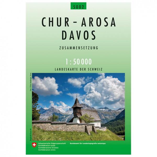Swisstopo - 5002 Chur-Arosa-Davos - Mapa de senderos