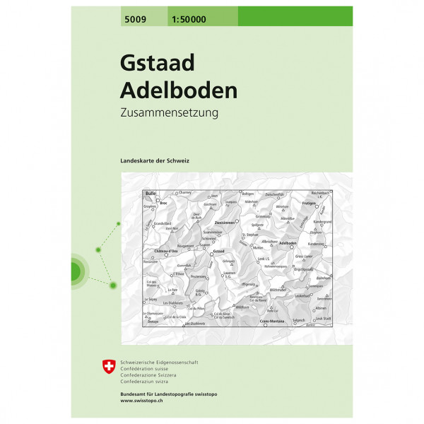 Swisstopo - 5009 Gstaad/Adelboden - Vandrekort