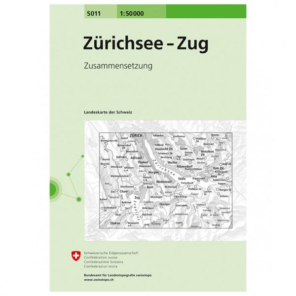 Swisstopo - 5011 Zürichsee-Zug - Wandelkaart
