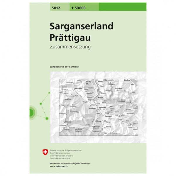 Swisstopo - 5012 Sarganserland/Prättigau - Carte de randonnée
