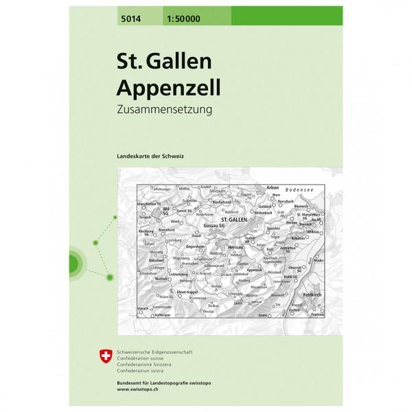 Swisstopo - 5014 St.Gallen/Appenzell - Vandrekort