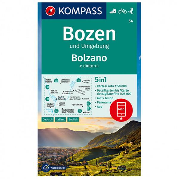 Kompass - Wanderkarte Bozen und Umgebung, Bolzano e dintorni - Vandrekort