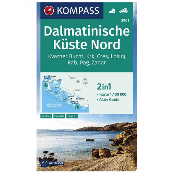 Kompass - Wanderkarte Dalmatinische Küste Nord - Vandrekort