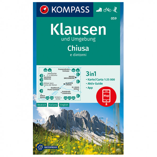Kompass - Wanderkarte Klausen und Umgebung Chiusa e dintorni - Hiking map