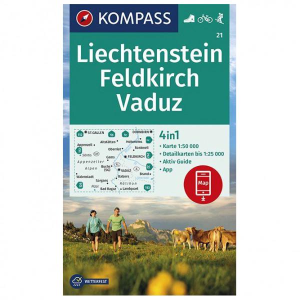 Kompass - Wanderkarte Liechstenstein, Feldkirch, Vaduz - Wandelkaarten