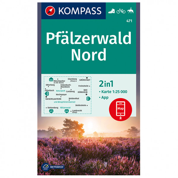 Kompass - Wanderkarte Pfälzerwald Nord - Wandelkaart