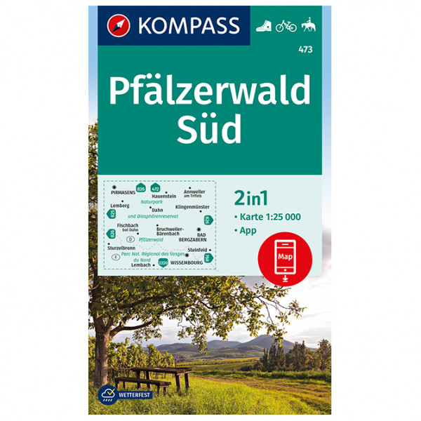 Kompass - Wanderkarte Pfälzerwald Süd - Hiking map
