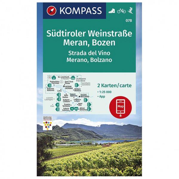 Kompass - Wanderkarte Südtiroler Weinstraße, Meran, Bozen - Vandrekort