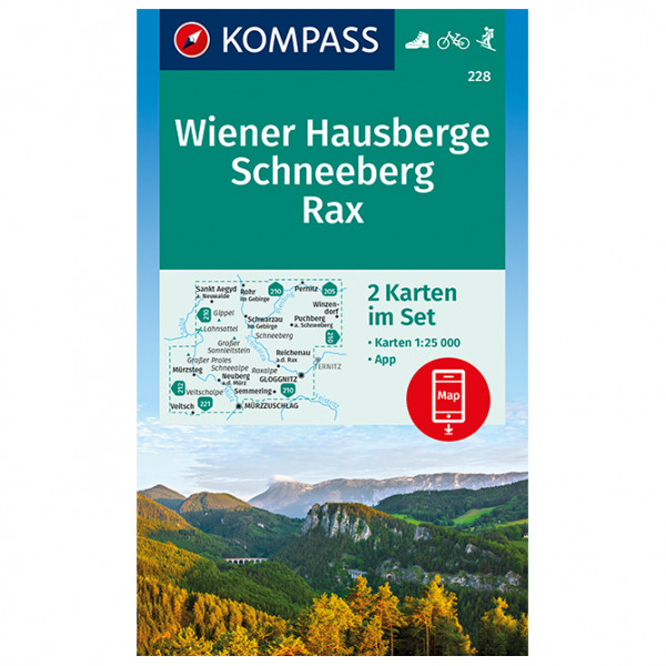 Kompass - Wanderkarte Wiener Hausberge, Schneeberg, Rax - Vandrekort