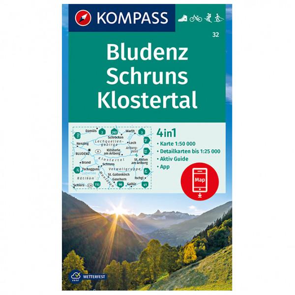 Kompass - Wanderkarte Bludenz, Schruns, Klostertal - Vandrekort