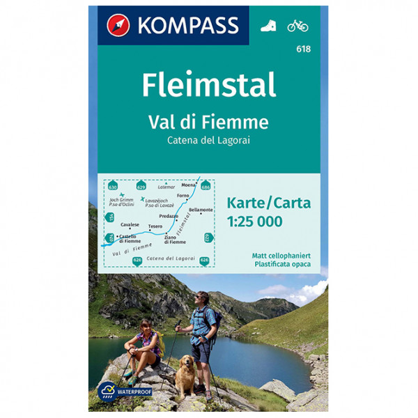 Kompass - Wanderkarte Fleimstal, Val di Fiemme, Catena - Vandrekort