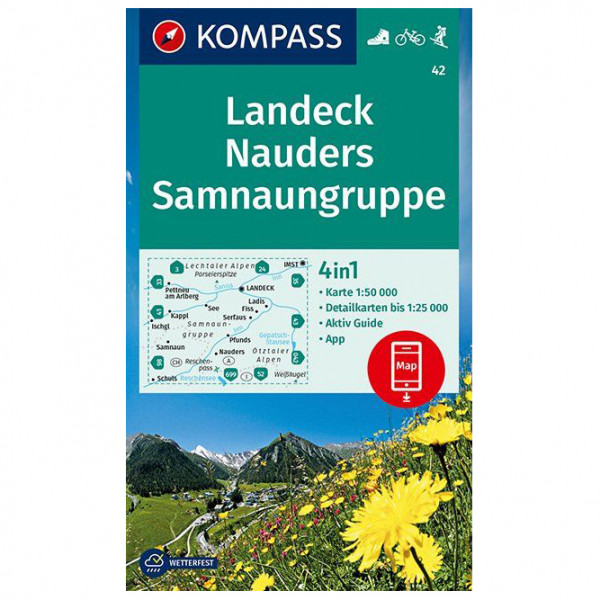 Kompass - Wanderkarte Landeck Nauders Samnaungruppe - Hiking map