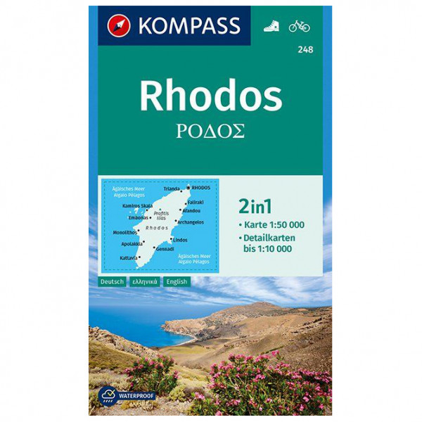 Kompass - Wanderkarte Rhodos - Hiking map