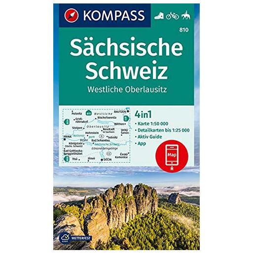 Kompass - Sächsische Schweiz, Westliche Oberlausitz - Wanderkarte