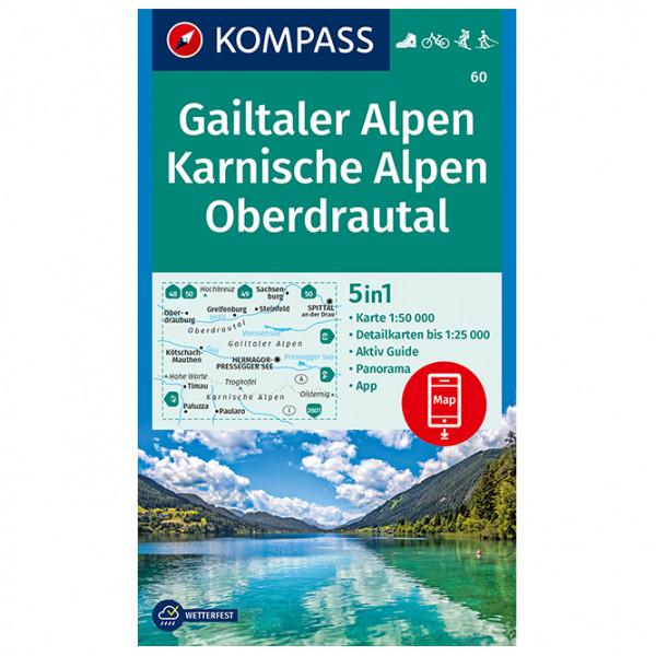 Kompass - 60 Gailtaler Alpen, Karnische Alpen, Oberdrautal - Wanderkarte