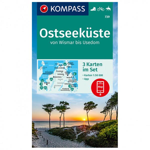 Kompass - 739 Ostseeküste Von Wismar Bis Usedom (3-K-Set) - Hiking map