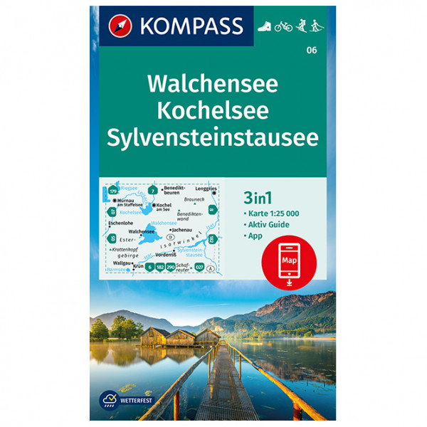 Kompass - Walchensee, Kochelsee, Sylvensteinstausee - Wanderkarte