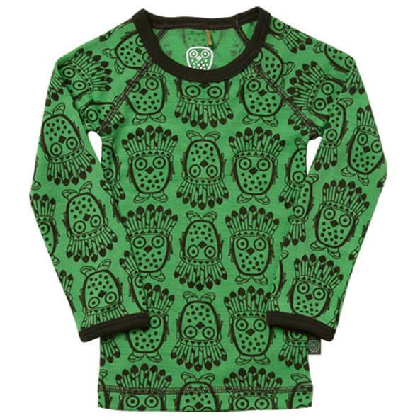 Ej Sikke Lej - Kid's Owl Wool T-Shirt LS - Longsleeve
