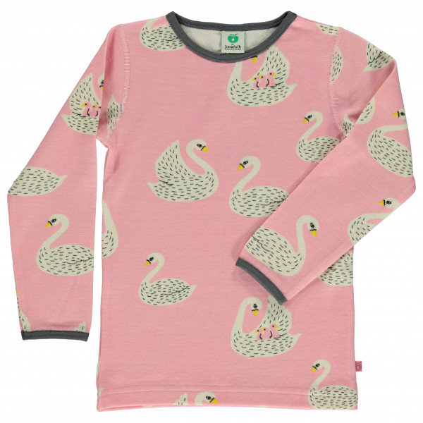 Smafolk - Kid's Wool Mix T-Shirt with Swans - Longsleeve