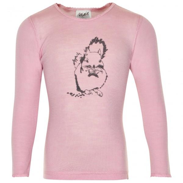 CeLaVi - Girl's Undershirt L/S Chest-Print Wool