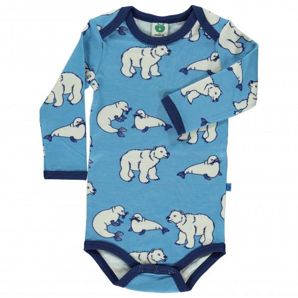 Smafolk - Kid's Body L/S Wool Polarbear - Merinovilla-alusva