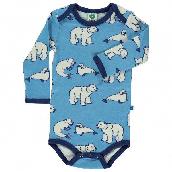 Smafolk - Kid's Body L/S Wool Polarbear - Merino undertøj