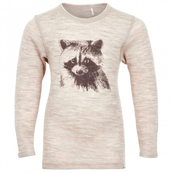 CeLaVi - Kid's Undershirt L/S Chestprint Wool Racoon - Merino undertøj
