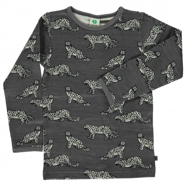 Smafolk - Kid's Wool Mix T-Shirt with Leopard - Merino undertøj