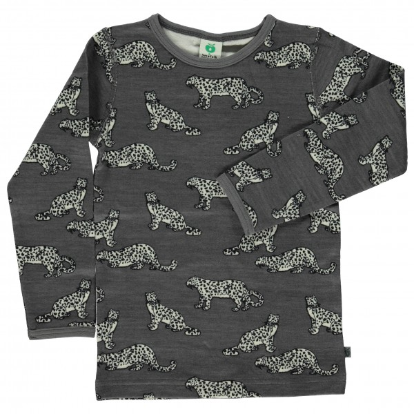 Smafolk - Kid's Wool Mix T-Shirt with Leopard - Underkläder merinoull
