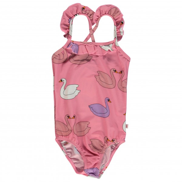 Smafolk - Kid's UV50 Swimsuit With Ruffles And Swan - Badedrakt