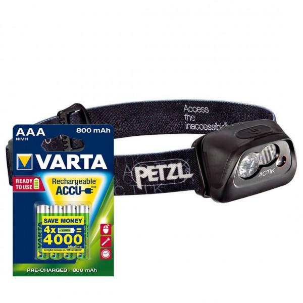 Petzl - Stirnlampen-Set - Actik - ACCU AAA 4er