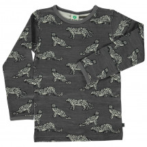Smafolk - Kid's Wool Mix T-Shirt with Leopard - Merino base layer