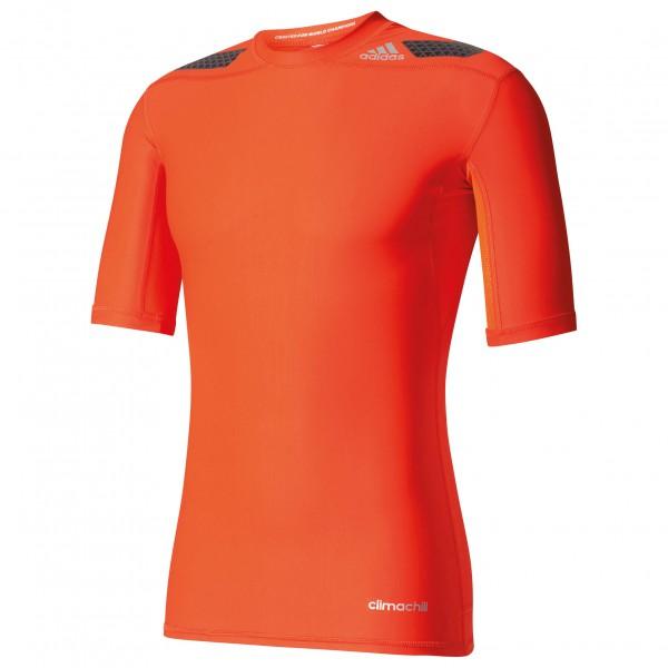 adidas - Techfit Power Short Sleeve Tee Kompressionswäsche Gr XL rot/orange Sale Angebote Cottbus